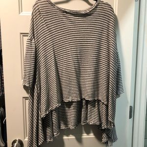 Distressed Striped Free People Oversized Shirt